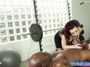 Redhead massage babe fucked by BBC