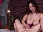Bigtitted japanese femdom titfucks her client