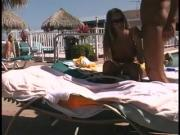Couple public sex play by pool