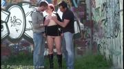 Risky threesome at a tram station! AWESOME!