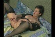 Hairy Granny in Stockings Fucks the Boy