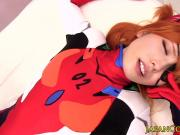 Japanese cosplay redhead cocksucks before sex