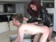 Fucked hard by strapon mistress
