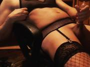 Hot crossdresser cums in rubber