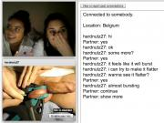 Testicle squeezing for two girls on webcam
