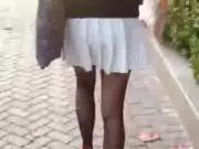 Asian woman walking like a frog