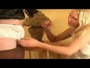 Panty Clad Sissy Hand Job