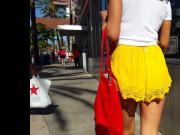 Candid voyeur milf vpl vtl yellow shorts latina gorgeous