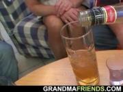 Boozed blonde grandma takes two big cocks