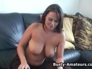 Busty amateur Leslie playing her pussy after interview