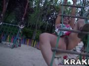 Krakenhot - Provocative redhead having fun in a voyeur vide
