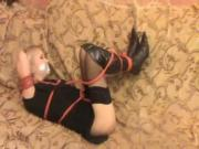 hot blonde tied in high heel boots