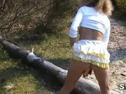 Flashing on beach with dildo and voyeurs before lesbian fist