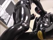 Rubber pussy in bathroom
