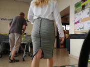 Blonde Secretary Pencil Skirt Lunchtime Shop Heels Sounding