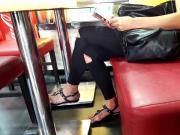 filming girl big feets curvy toes, long toenails