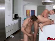 Handsome tattooed gays anally fuck in the kitchen