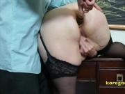 She masturbates while he destroys her ass