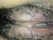 Extremely wet hairy amateur Asian pussy fingered