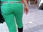 two hot asses in brown and green in public