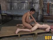 Bound twinkie gets his mouth ravaged and creampied