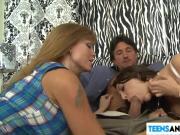 Horny couple seducing a hot teen
