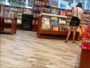 Shopper in sheer shirt and bra