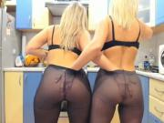webcam duo in pantyhose