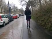 Woman with nice legs with fantasy pantyhose walking