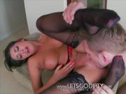 August Ames Big Titty Brunette Footjob