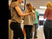 Thrifty college teens in leggings