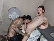 inked skater sucks cock on the toilet