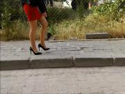 Blonde Sexy Girl Red Mini Skirt and Pantyhose Legs