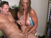 clever wife jerks lusty husband before going to beach