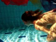 Edwiga teen Russian swims in clothes at night