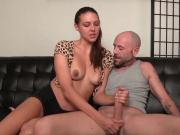 Brunette sexbomb makes a cock explode