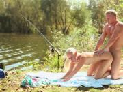 Blonde couple Dennis and Jenny fuck outdoor DaringSex.com