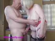 Sally wanks him with her shoes