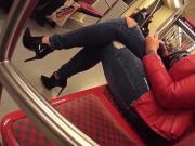 tall curvy woman in metro