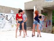 MyFirstPublic - Outdoor orgy with two super hot babes