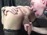 Tranny in stockings pounding her slave