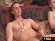Incredibly hung hunk launches jizz after jacking off