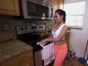 Asian housekeeper Cindy Starfall pleases and squeezes cock