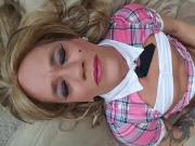 Sissy Monica talks dirty and self facial