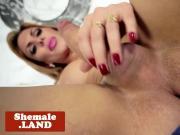 Tattooed bigtitted tgirl rubs hard cock solo