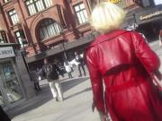 Part 2 Confident mature, red leather coat, sexy high heels