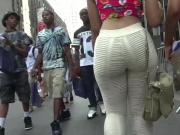 Hot hot hot huge ass walking see tru pants