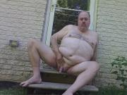 Porkbelly Jacking off outdoors with cum