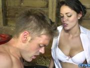 British femdoms humiliate stable boy in trio