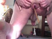 2 large spoons - 1 anal, 1 foreskin - at same time